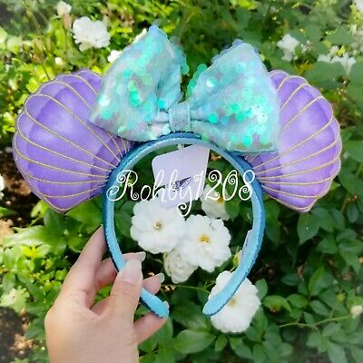 Disney Parks Little Mermaid Ariel Purple Iridescent Minnie Ears Headband