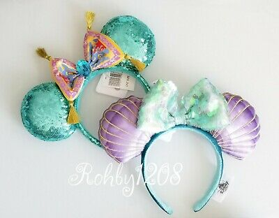 Disney Parks Little Mermaid Ariel & Aladdin Jasmine Minnie Ears Headband Set