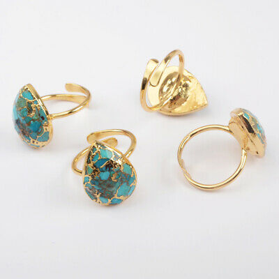 Adjustable Gold Plated Copper Teardrop Real Blue Turquoise Cuff Open Ring HG1836