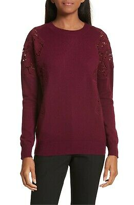 229 Nwot Ted Baker Womens Burgundy Embroidered Lace