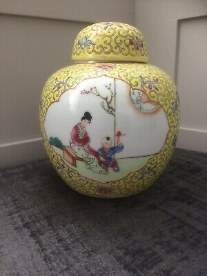 Vintage Hand Painted Chinese Temple/Ginger Jar And Cover