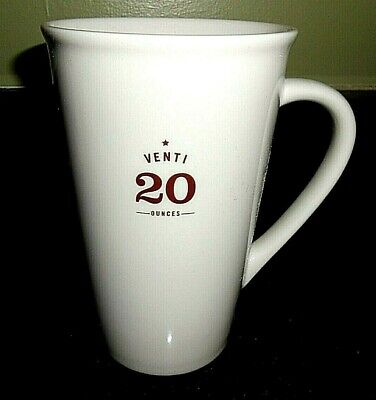 Starbucks 2010 Venti 20 Ounces White Tall Ceramic 20oz Coffee Latte Mug Cup