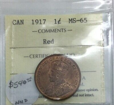 Canada 1917 Large Cent ICCS MS 65 RED Great Eye Appeal Scarce Coin Fully Struck