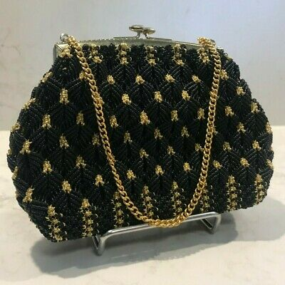 Black and gold beaded evening bag