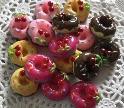 Kawaii Resin Cherry Topped Doughnut Cabochons ~ 40 Pieces Resin Donut Cabochons