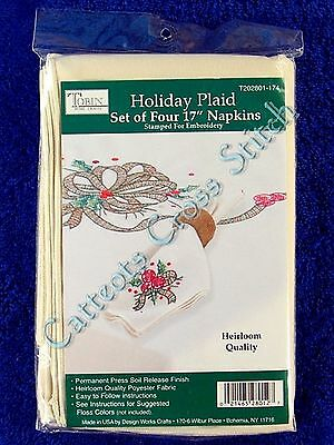 Stamped Cross Stitch & Embroidery Holiday Napkins Christmas Set of 4