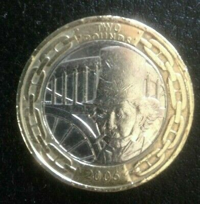 Isambard Kingdom Brunel 2006 £2 Two Pound Coin,Royal Mint Minting Error