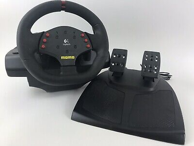 441a63d5ec2 LOGITECH MOMO RACING Force Feedback USB Steering Wheel And Pedals PC ...