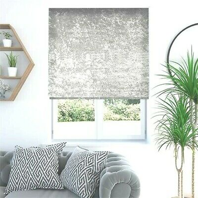 Crushed Velvet Roller Blind Blinds With Easy Fitting Trimable Soft Touch Fabric