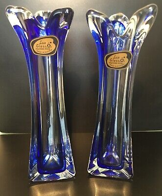 Pair Of Lux Glass Vases Faconne Main Made in Austria - Vintage Mid 20th Century