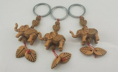 Lot of 3: Lucky Elephant Carving Wooden Pendant Keychain Key Chain