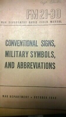 WWII 1941 MILITARY Symbols Conventional Signs Field Book FM