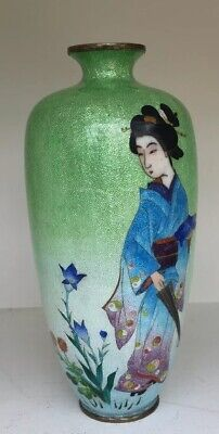Superb Antique Japanese Ginbari Cloisonne Vase By Ota Toshiro. Geisha Girl.
