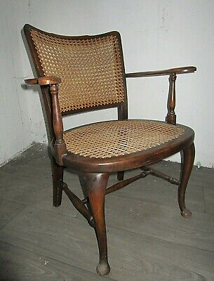 Antique Early 20th Century Oak & Cane Bentwood Chair Rustic Bergere Armchair