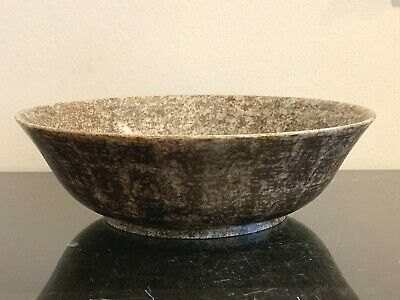 Old Acid-Etched Calligraphy Oriental Asian Hardstone Bowl