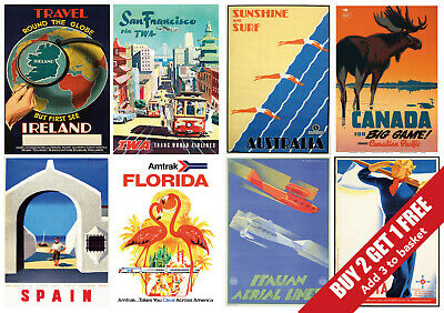 Vintage Travel Prints - New York / Paris / Italy / Spain / Germany / Mexico