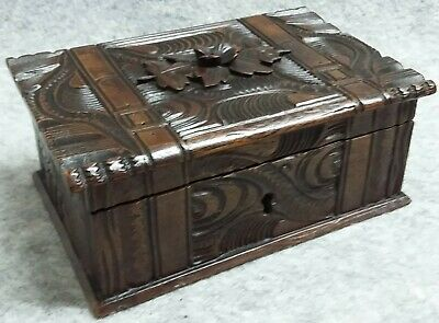 Hand Carved Bound Wooden Bible Box Treen Jewellery Trinket Chest Lock Vintage