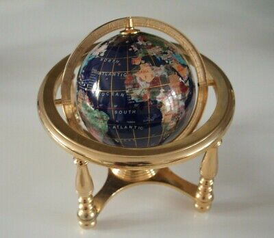 Decorative Blue & Gold Mosaic Desk Globe with Integrated Compass