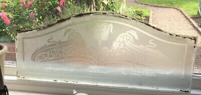 Superb Art Nouveau, Arts & Crafts Acid Etched Glass Window 2
