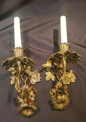 Vtg Pair 2 Brass Candelabra Sconce Wall Light Lamp 1 Arm Electric Candle