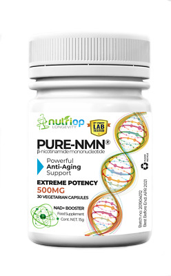 Pure-NMN Nicotinamide Mononucleotide Extreme Potency 500mg capsules (x30) - 15g