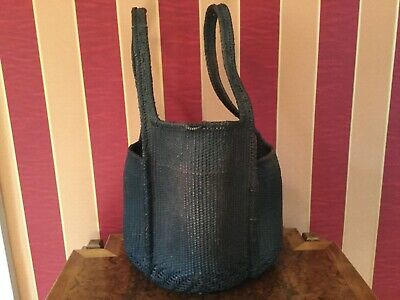 Unusual Oriental Woven Antique basket three compartment back carrier - museum
