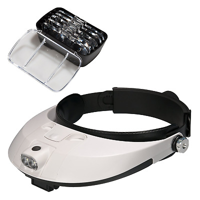 Lysignal Head Magnifier with LED Lamp Light Magnifying Glass Headset Loupe for