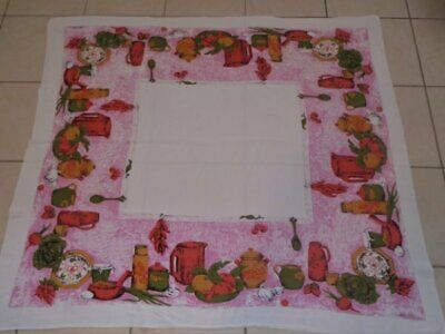 "Vtg Retro Cotton/Rayon Pink Kitchen Tablecloth Luther Travis VGC 43"" x 47"""