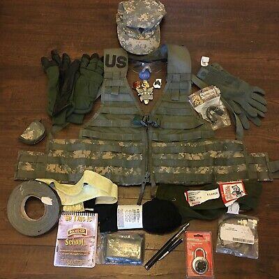 Junk Drawer Military US Army Lot Tactical Vest Hat Gloves Ranger Rank & MORE