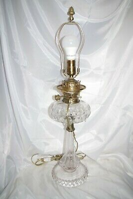 Antique Hinks and Sons Coin Dot Cut Glass Oil Lamp No. 2 Duplex Brass Converted