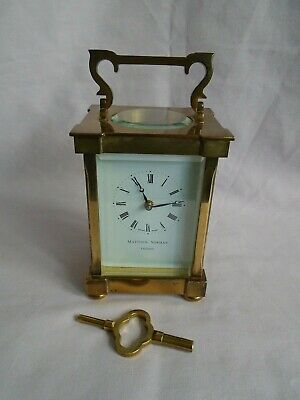 Vintage Matthew Norman Classical Carriage Clock + Key In Good Working Order