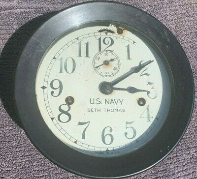 Seth Thomas NAVY Ships Clock NO Key Not sure if it works AS IS