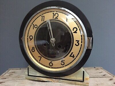 Antique French Art Deco Stone Mantle Clock Le Berre Ancel Douarnenez