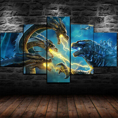 Framed Godzilla King of the Monsters Poster 5 Piece Canvas Print Wall Art Decor