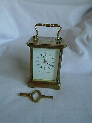 Vintage Matthew Norman 8 Day Timepiece Carriage Clock In Good Working Order
