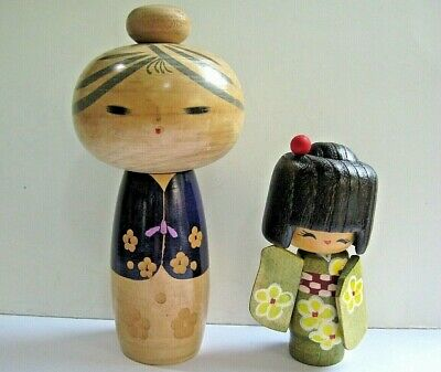 """2 Wood Kokeshi Dolls from Estate Sale 7"""" signed and 4 1/2"""" tall"""