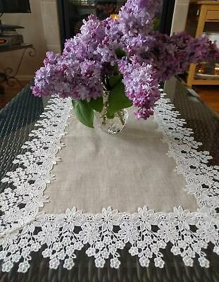 Dresser Scarf  Runner Flower Lace Neutral Burlap Natural Floral Daisy Doily 35""