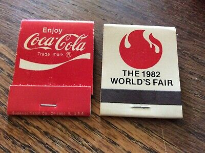 VINTAGE 1-COCA COLA '82' World's Fair & 1- Coca Cola RED MATCHBOOK SET!UNSTRUCK!