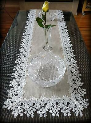 """Dresser Scarf  Runner Flower Lace Neutral Burlap Natural Floral Daisy Doily 54"""""""