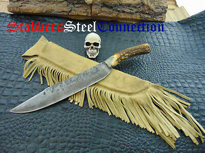 VINTAGE UNIQUE CUSTOM TURQUOISE STAG Silver HUNTING KNIFE