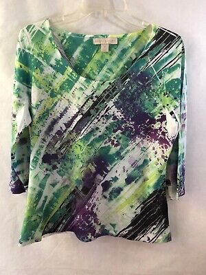 New Womens Laura Ashley Embellished Knit Top Size Medium Multicolor
