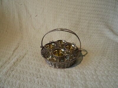 Antique Victorian Elkington & Co Silver Plated Egg Cup Basket Breakfast Set 1882