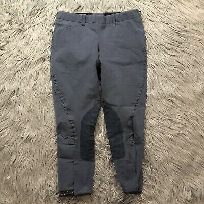 Girl's The Tailored Sportsman English Riding Breeches Gray size 16 Side Zip USA