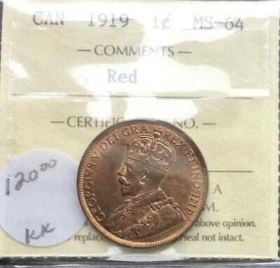Canada 1919 Large  Cent ICCS MS 64 RED Good  Eye Appeal Coin Fully Struck