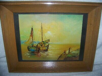Artist Hayward? Unknown, Oil Wood, Semi-Abstract Boat Docked framed glass signed