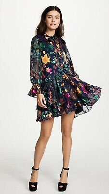 312f3a43f9a5 Alice + Olivia Moore Layered Skirt Tunic Dress Prisma Floral $465 Sz XS 0 2