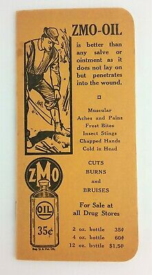 ZMO Oil Medical Remedy Vintage Advertising Pocket Notebook Calendar 1939