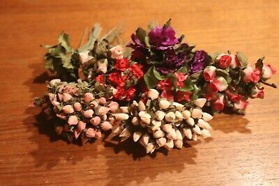 VINTAGE millinery 100+ SILK FLOWERS ROSEBUDS - pansies - LEAVES FREE SHIP