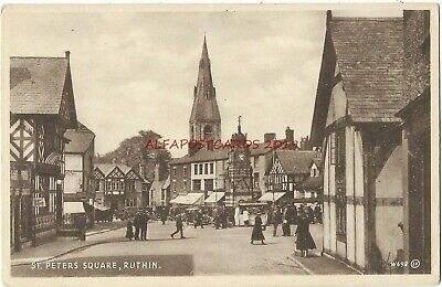Wales Ruthin St Peters Square Vintage Postcard