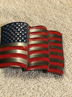 1991 American USA Flag Siskiyou Belt Buckle N92  Made in USA vintage
